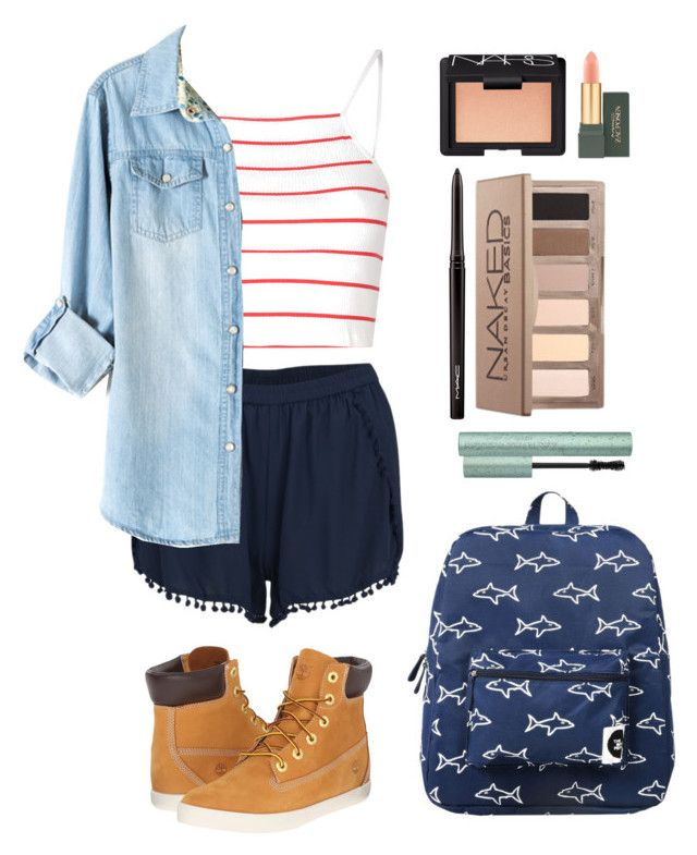 """Nautical Style"" by silverowlett ❤ liked on Polyvore featuring Glamorous, VILA, Timberland, Forever 21, NARS Cosmetics, MAC Cosmetics and Urban Decay"