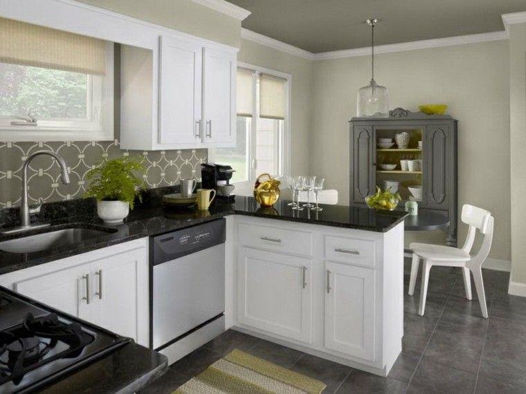 Cocinas pintadas con los colores de moda - 50 ideas | Colores grises ...