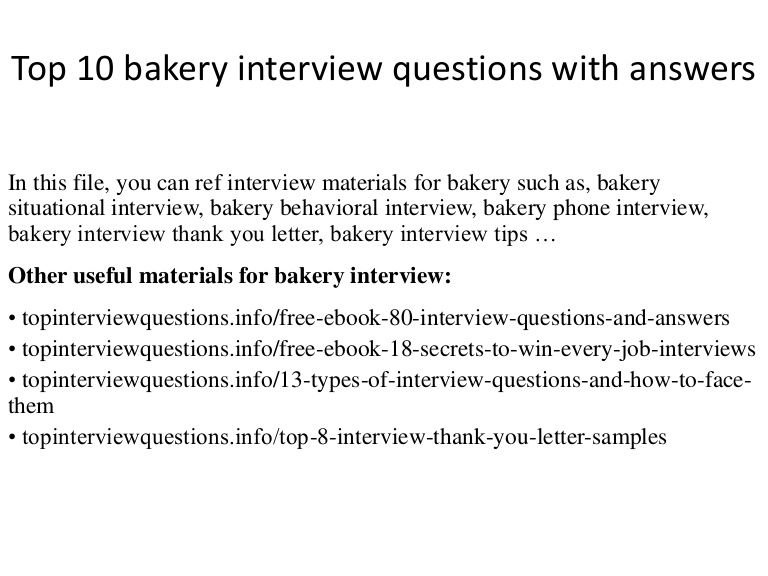 bakery interview questions