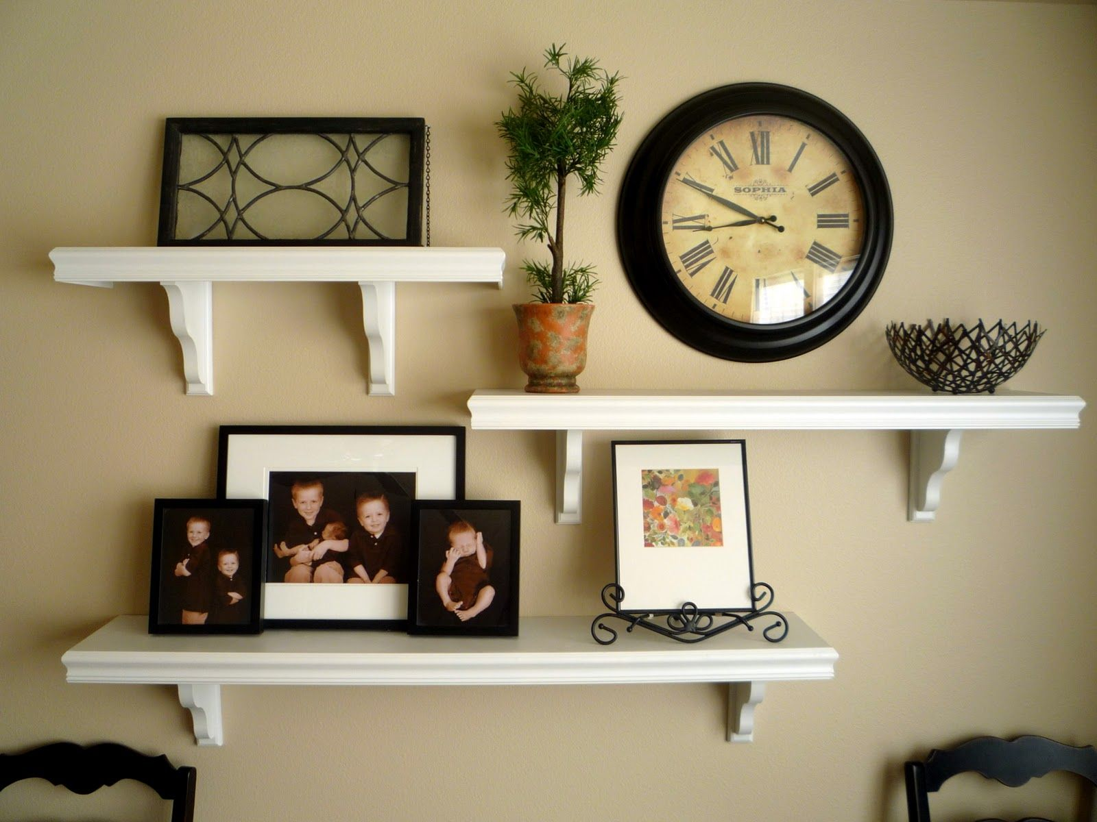 Picture and shelves on wall together it all started for Shelf decor items