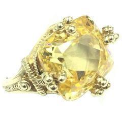 Signed Judith Ripka Breathtaking 7 Carat Lemon Quartz set in 14kt Gold Ring