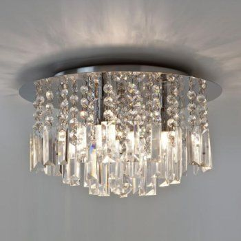 Astro Lighting 7190 Evros Bathroom Flush Ceiling Light Chrome And Crystal Glass