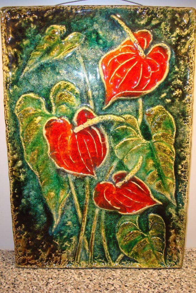 Vintage karlsruhe majolika art pottery wall tile plaque botanical 7513