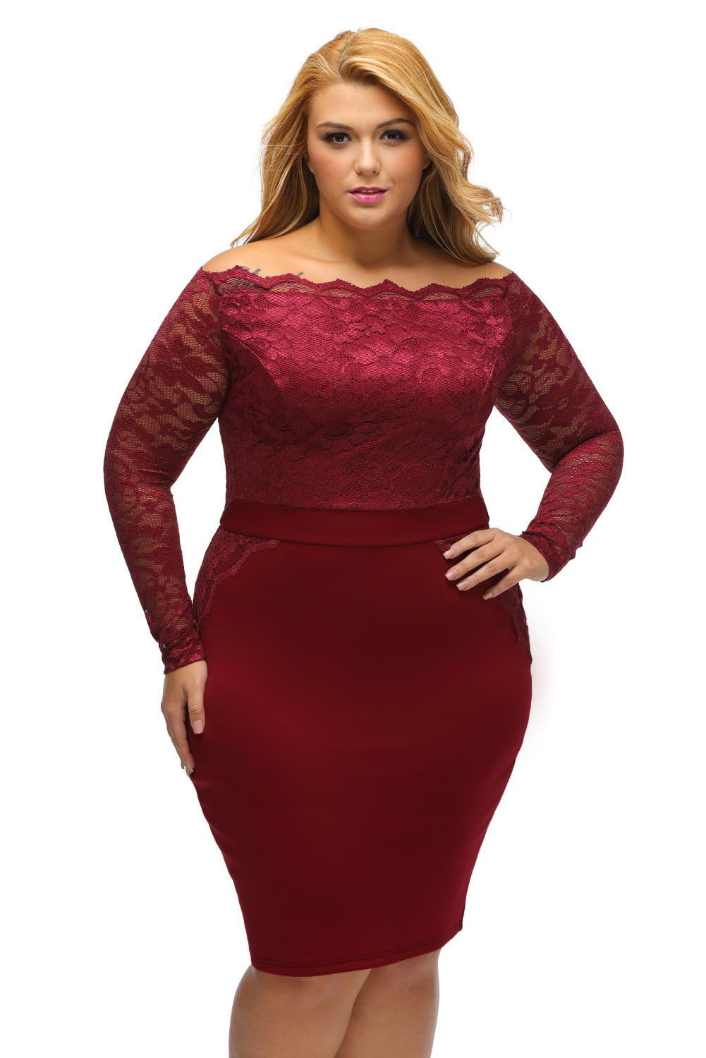 red off shoulder long sleeve plus size lace dress
