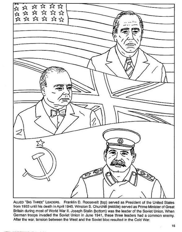 WWII Unit - Coloring page Roosevelt, Churchull, Stalin ...