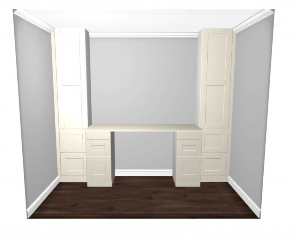 Learn how to build a desk using IKEA SEKTION cabinets. Design a custom built-in desk using IKEA kitchen cabinets. home projects on a budget || home diy || home upgrades || ikea || ikea sektion || ikea kitchen || ikea hack #diyhome #diyproject #homedecor #ikeahack