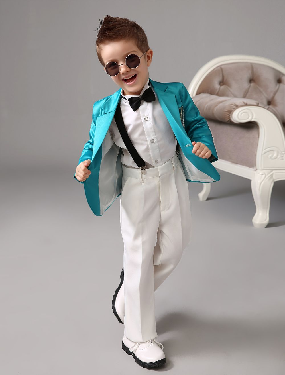 Four Pieces Luxurious green formal boys suits Ring Bearer Suits kids ...
