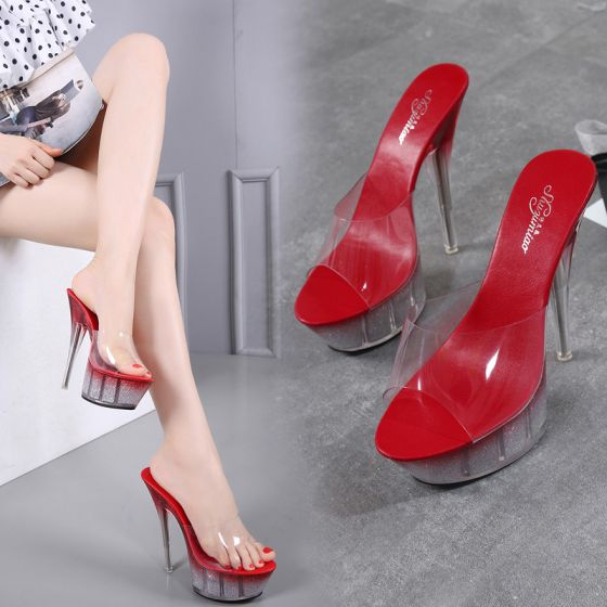 Chic Beautiful Burgundy Rave Club Womens Shoes 2020 14 Cm Stiletto Heels Open Peep Toe Sandals In 2020 Stiletto Heels Peep Toe Sandals Women Shoes