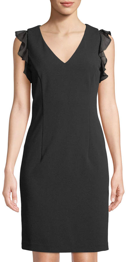 43++ Calvin klein ruffle shoulder sheath dress ideas