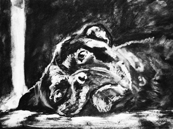 Boxer Dog art print charcoal resting boxer dog by OjsDogPaintings #boxerdog #boxerlovers #dog #sleepingdog #cutedog #charcoal #art #etsy