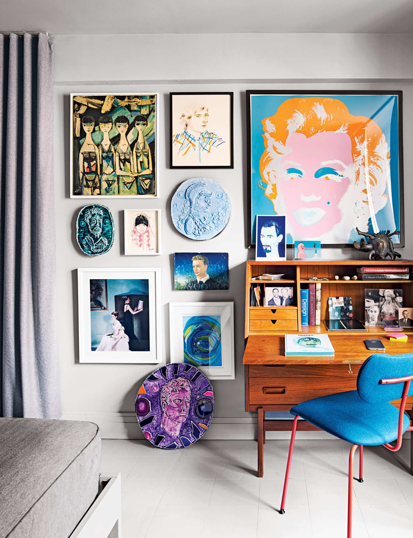 An artists apartment where just about everything is on