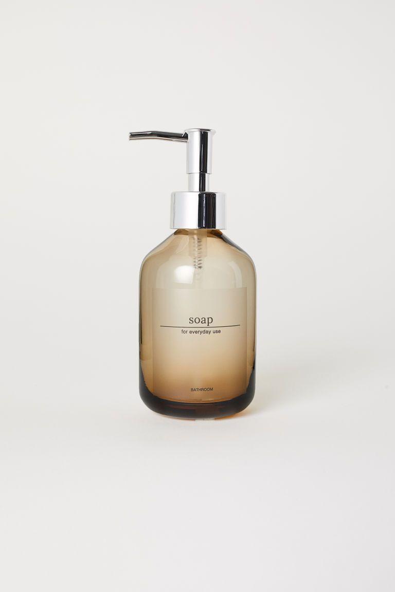 Glass Soap Dispenser Distributeur Savon Savon Marron Clair