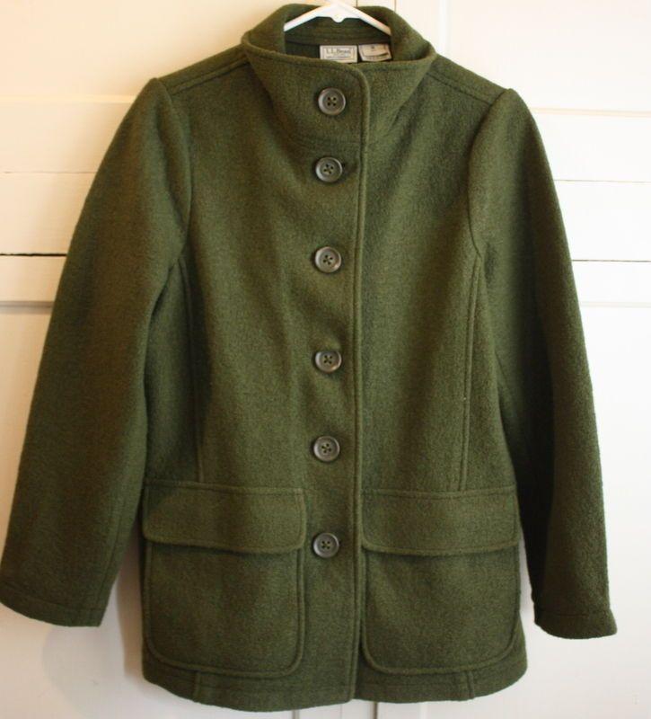 LL BEAN Green Wool Winter Coat with Leather Trim Sz L JKQszRn