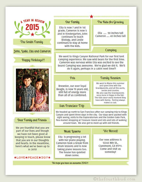Year In Review  Christmas Letter Template In By Thefourthbud