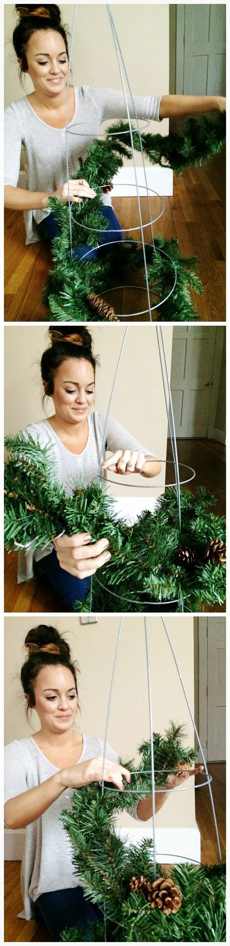 DIY Rustic Tomato Cage Christmas Trees -