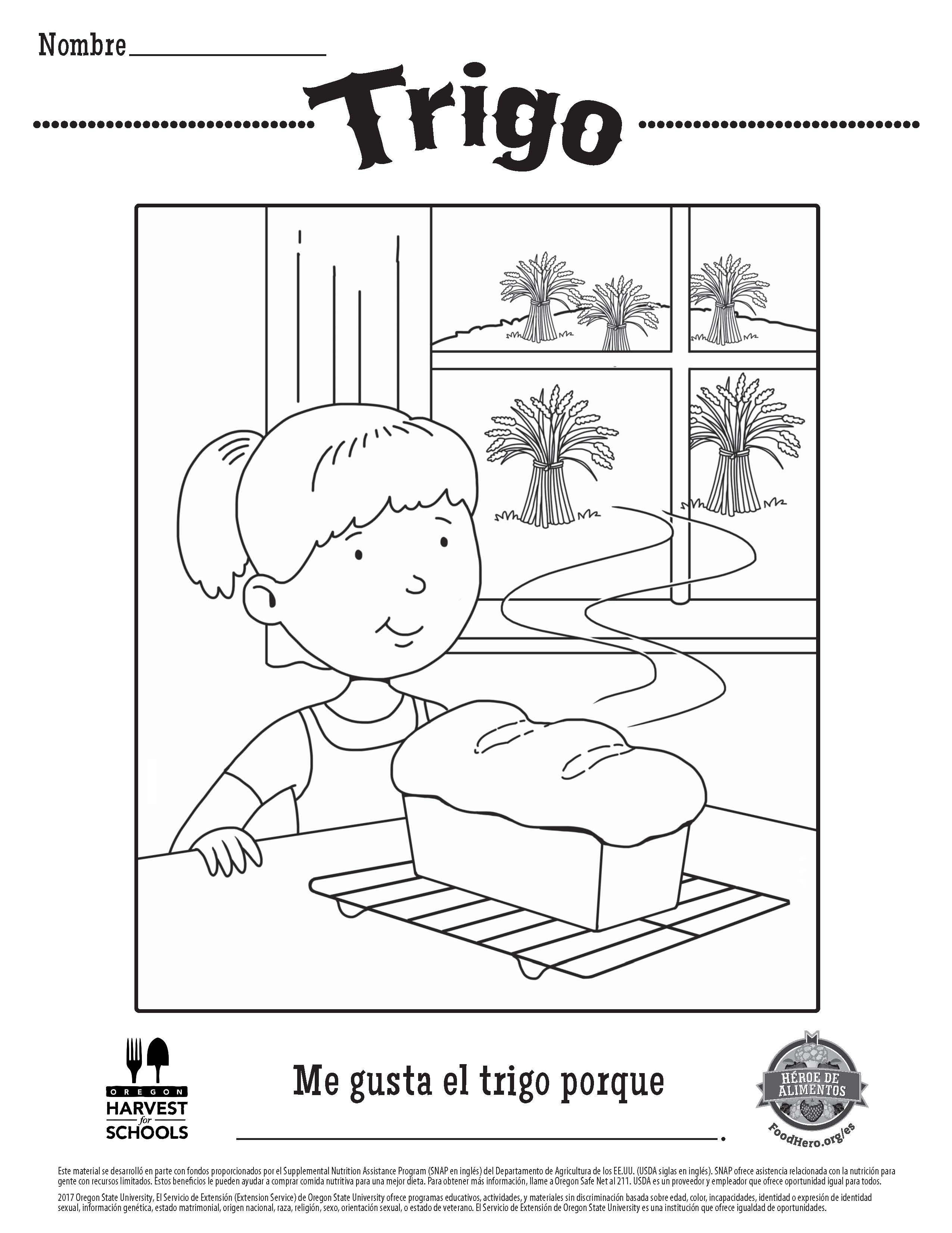 Coloring Sheets in Spanish. Healthy Coloring Sheets. Food Hero ...