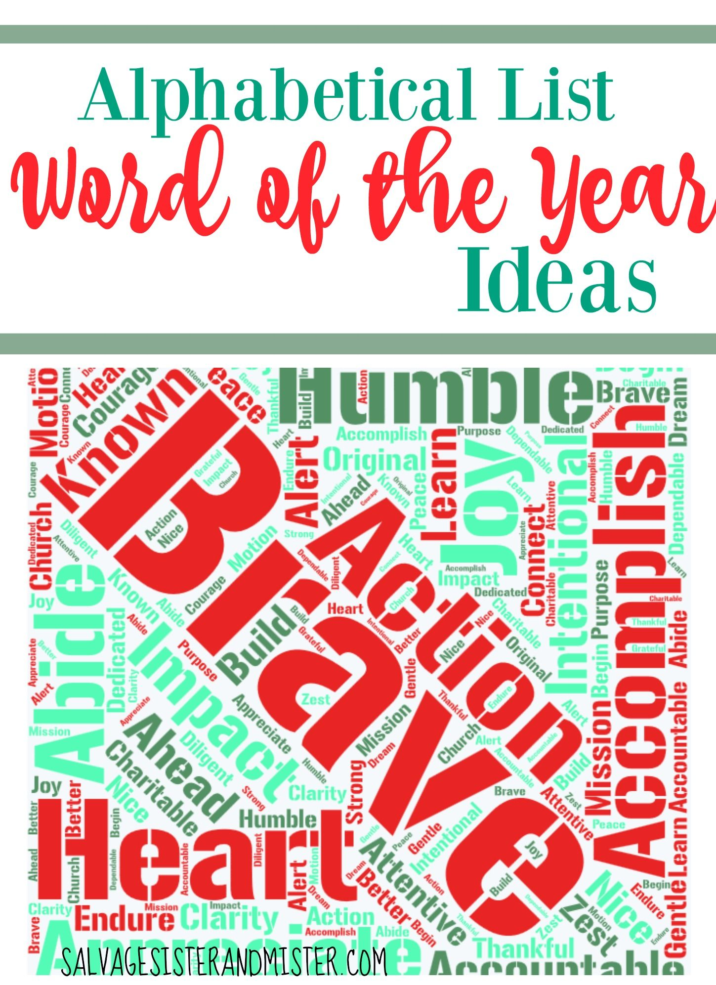 An Alphabetical Listof Word Ideas For Word Of The Year Choosing A Word Of The