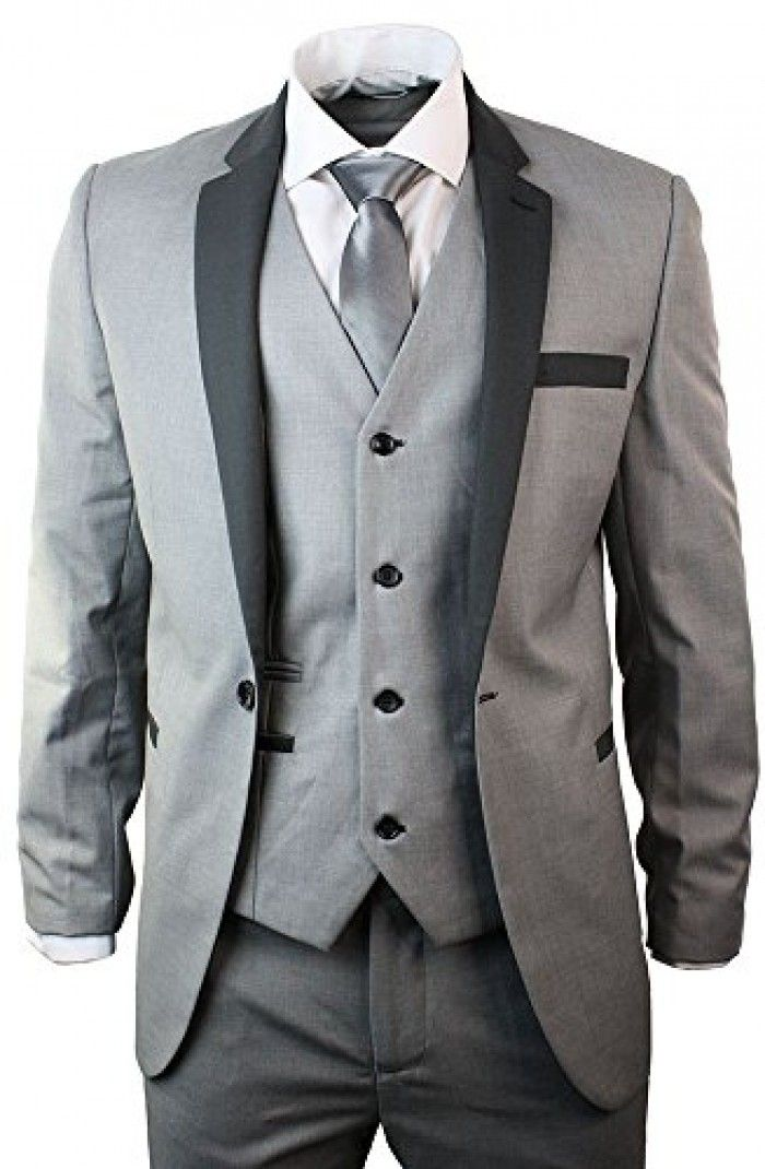 cd8ca9df4ac67 Mens 3 Piece Light Grey Suit Charcoal Trim Slim Fit Wedding Party Prom