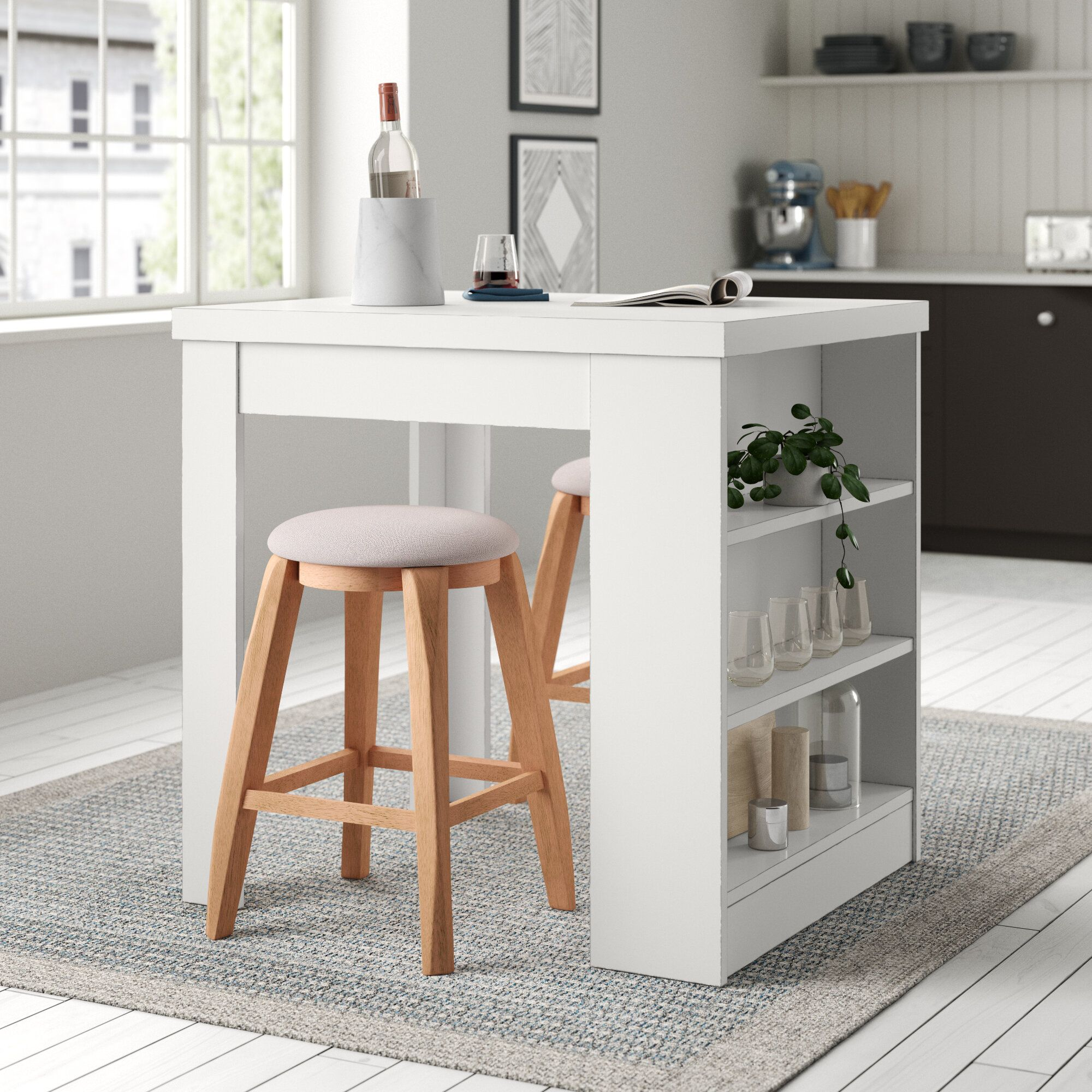 Andover Mills Kuhnhenn Kitchen Cart With Wood Top Reviews Wayfair Counter Height Dining Table Dining Table In Kitchen Solid Wood Dining Table