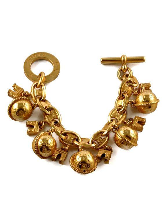 Vintage Celine Paris Planet Arc De Triomphe Charm Bracelet Charm Bracelet Vintage Costume Jewelry Charmed