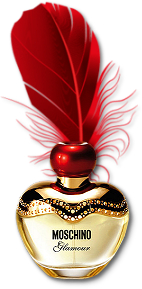 MOSCHINO Parfum decorated w' gold upper & Red Metallic Stopper w' Red Feather<3<3