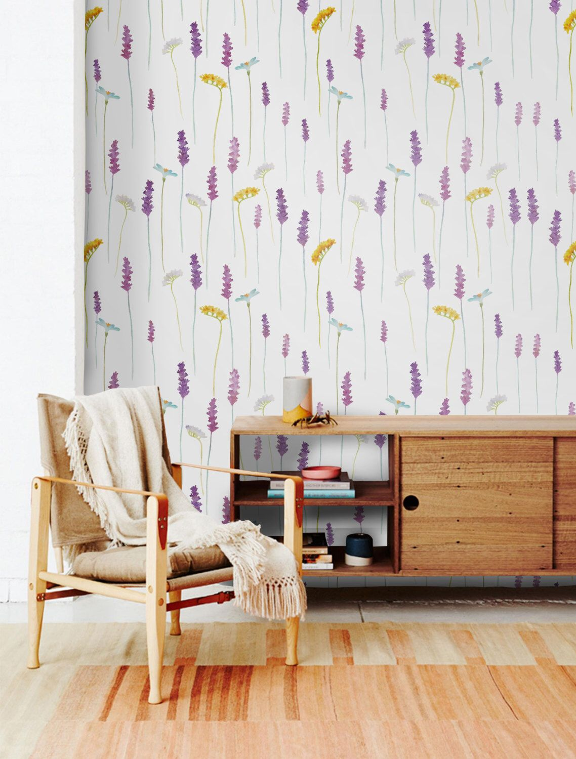 Lavender Removable Wallpaper Peel And Stick Watercolor Etsy Lavender Walls Removable Wallpaper Wall Murals