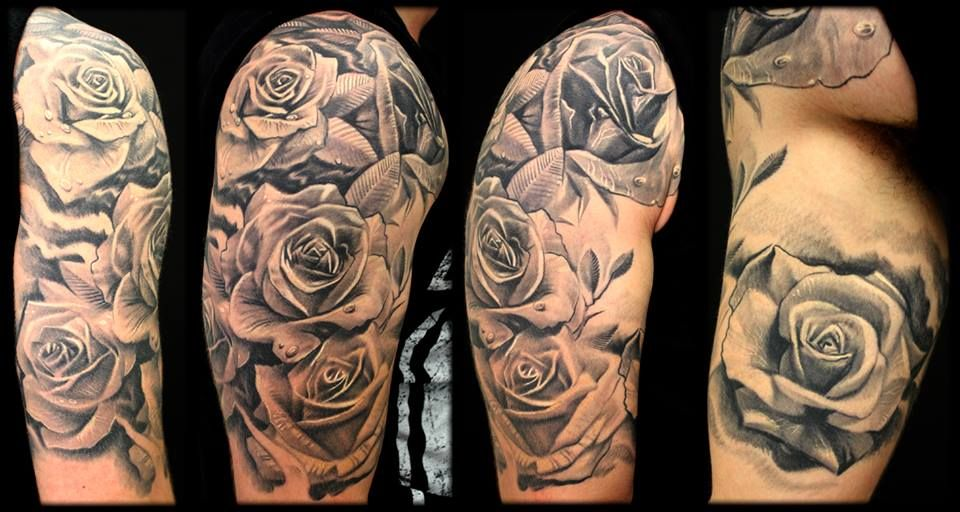 My finished rose half sleeve by alex blancolo tattoos for Rose tattoo sleeve