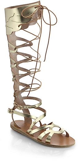 9161c8766f29 Ancient Greek Sandals Odyssey Metallic Leather Gladiator Sandals ...