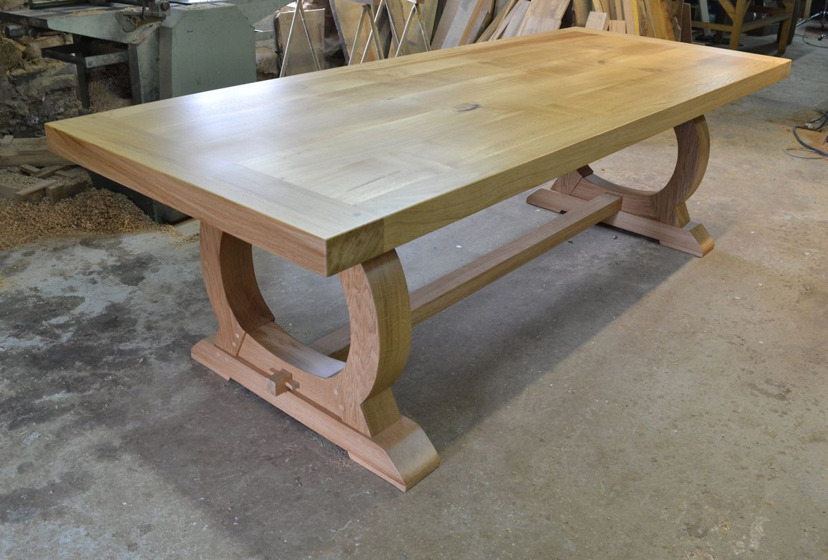 Handmade Oak Dining Table With Curved Base Bespoke Refectory