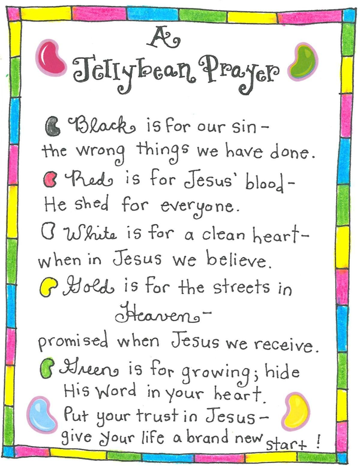 The jellybean prayer free printable easter fairy and printing easter crafts negle Images