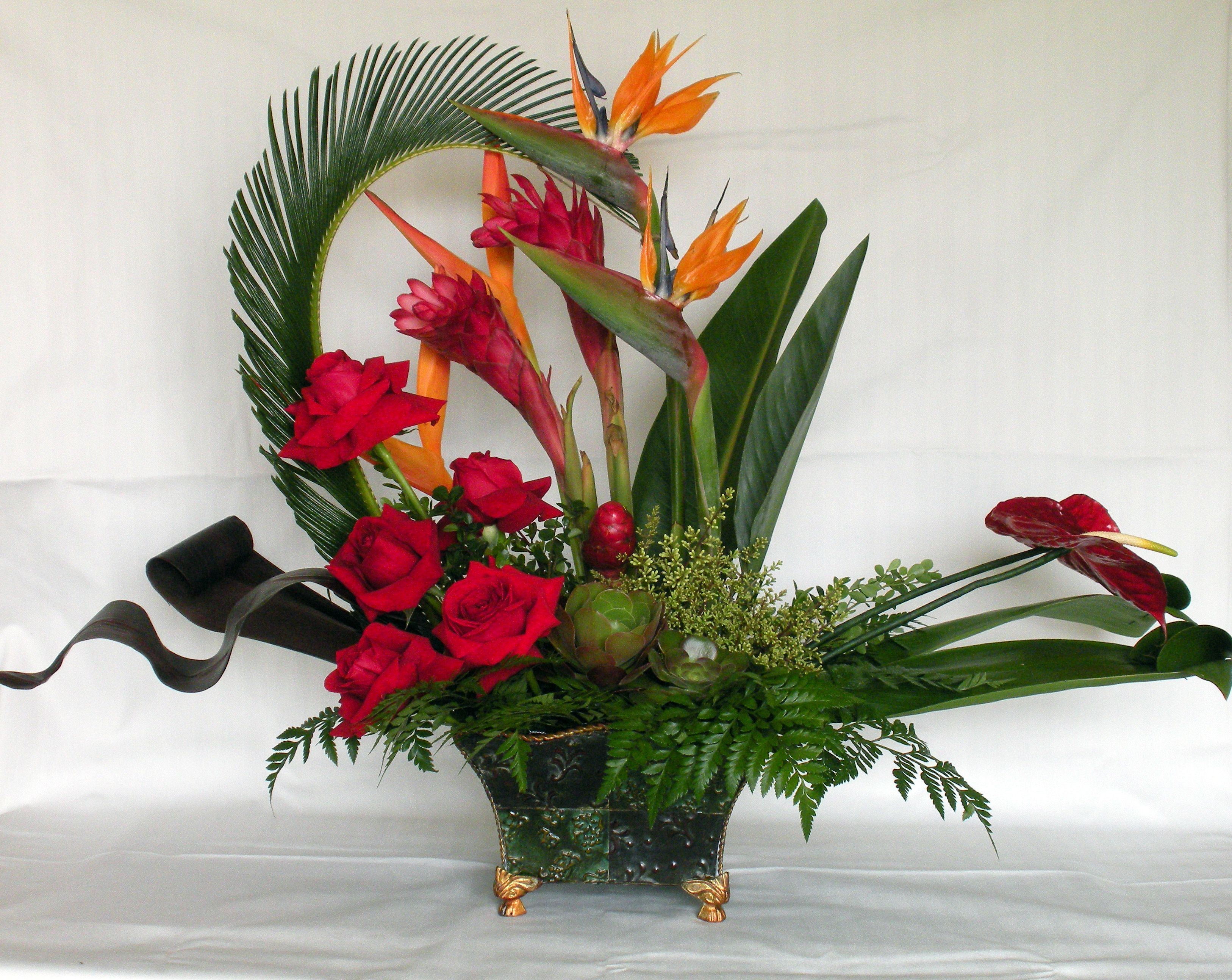 Beautiful tropical floral arrangement got it for my mom