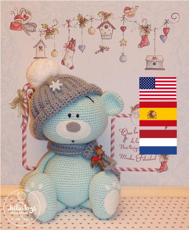 Blue teddy bear crochet pattern #crochetteddybearpattern Blue teddy bear crochet pattern | Etsy #teddybearpatterns