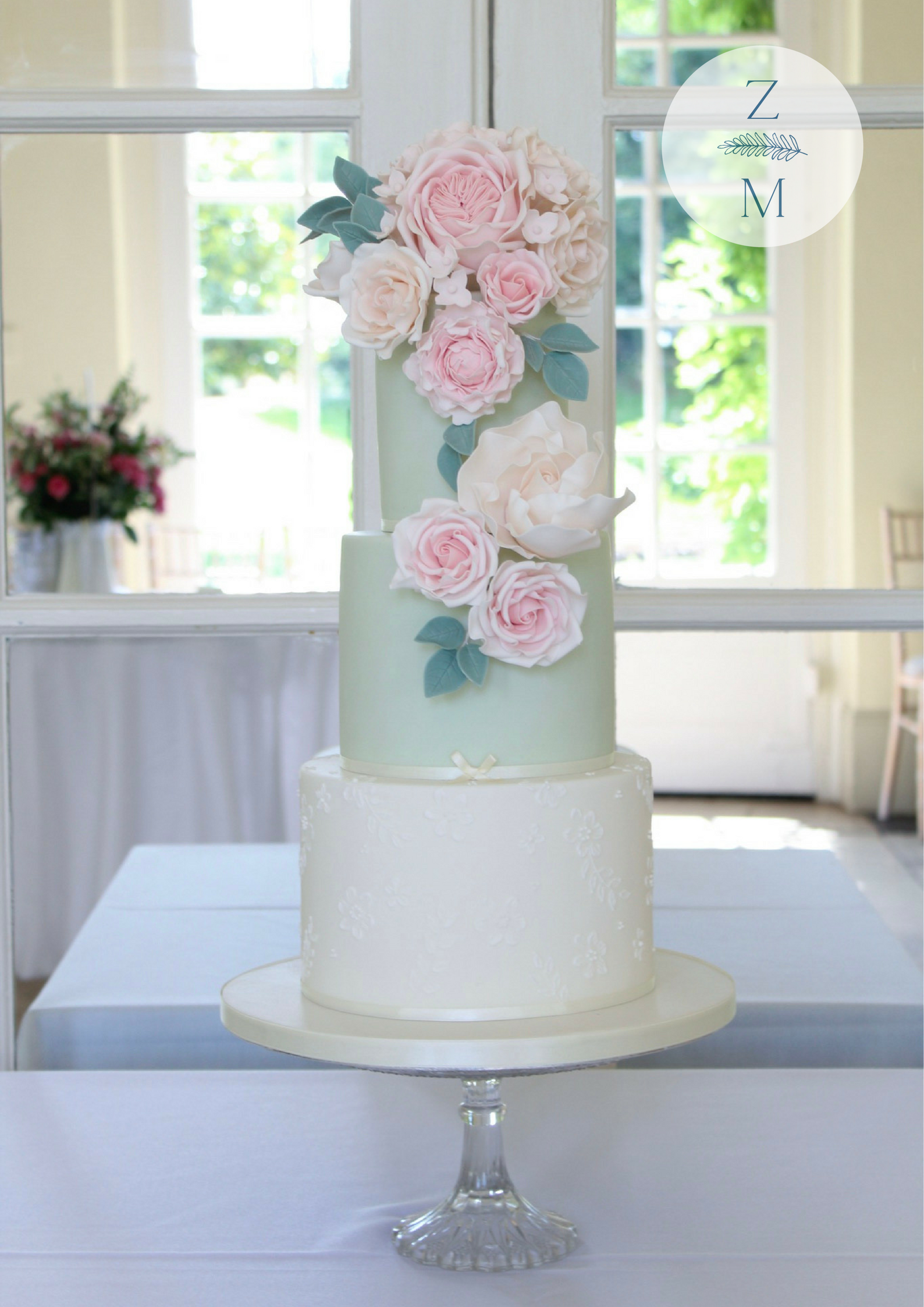 Delicate colours for a romantic lace inspired wedding cake and its ...