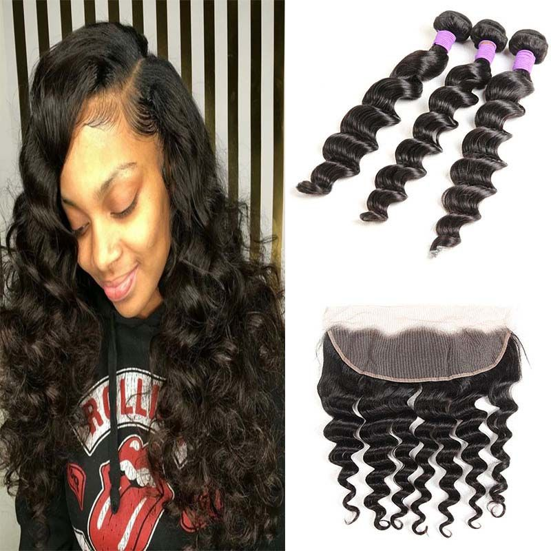 Brazilian Loose Deep Wave Human Hair With Lace Frontal Closure Ear