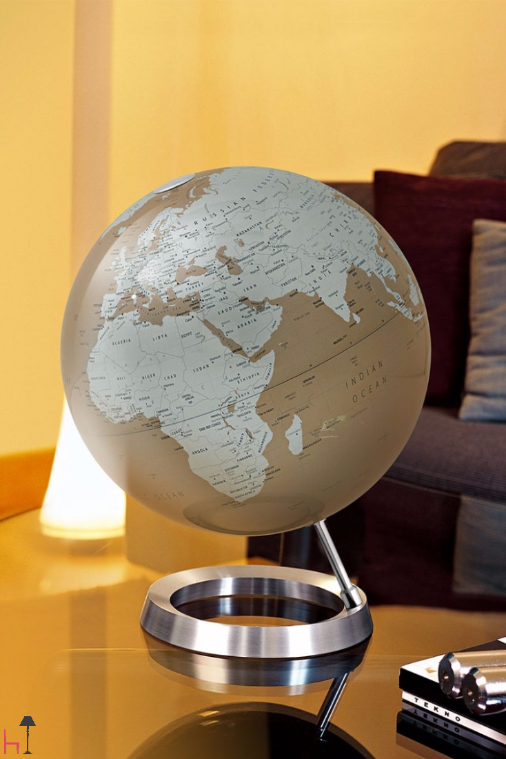 This precious home accessory merges a beautiful work of art and a reliable, quick source of geographical information.