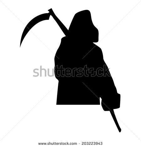 Grim Reaper Silhouette Vector Drawing Silhouette Vector Vector Drawing Grim Reaper
