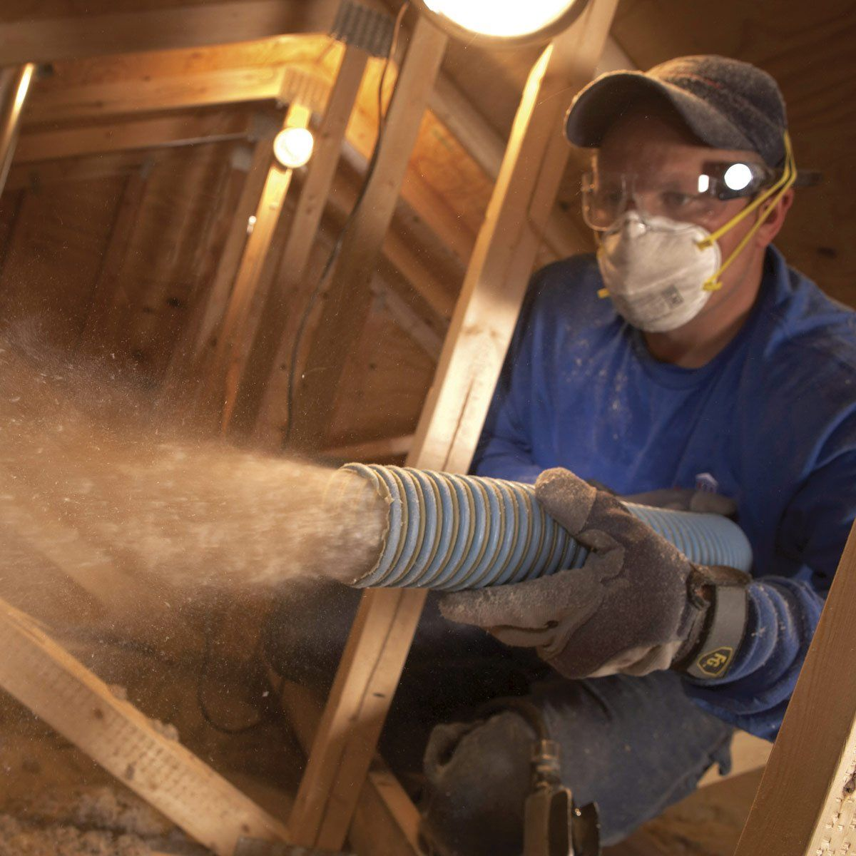 Saving Energy Blown In Insulation In The Attic In 2020 Blown In Insulation Attic Insulation Batt Insulation