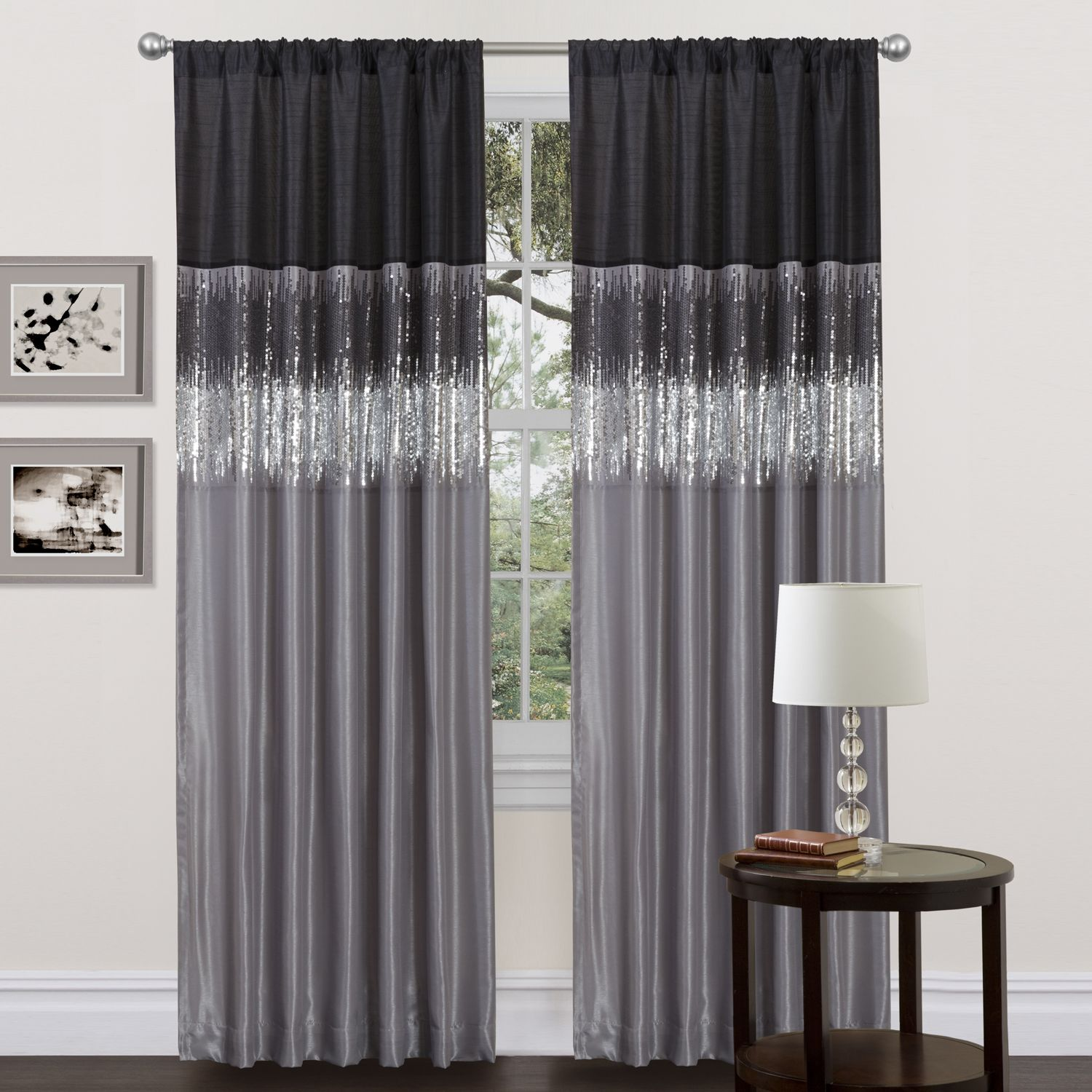 Bypass basic window treatments in favor of this chic 84-inch curtain panel. The black and silver perfectly play off each other and enhance the sequins, which give your room some sparkle. It also has rod pockets to allow for hanging on either end.