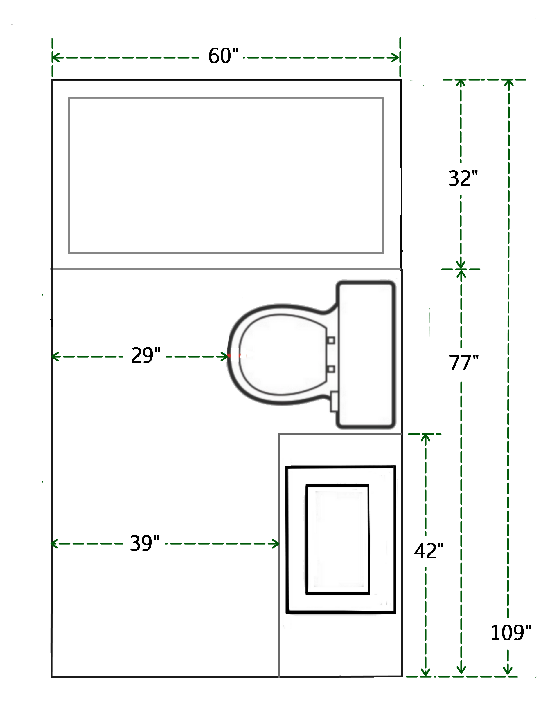 Floor Plan And Measurements Of Small Bathroom Add A Shower