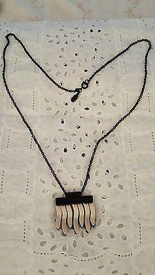 Ann Taylor Necklace Tribal Design Black White Tan