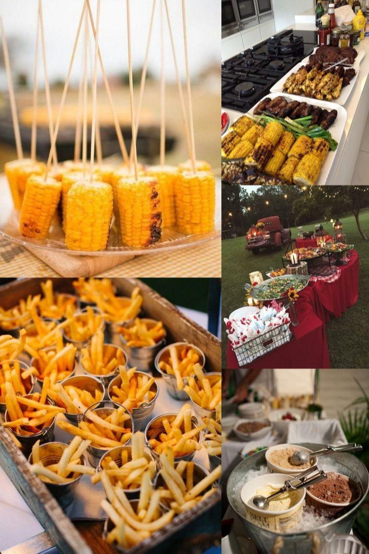 20 Backyard Barbecue Ideas For A Fun Wedding Reception Backyard Bbq Wedding Food Backyard Bbq Wedding Barbecue Wedding