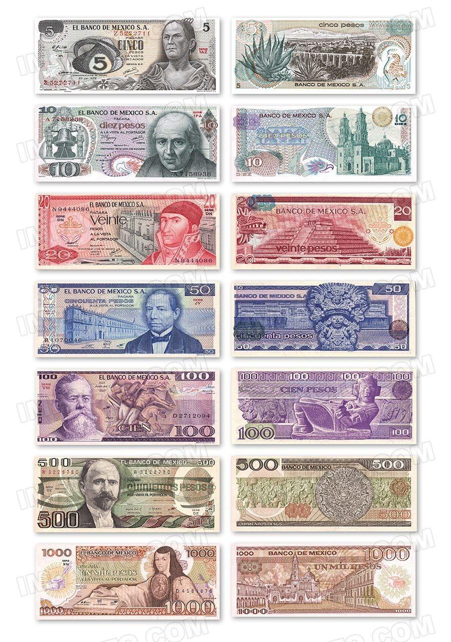 Mexico Set Of 7 Banknotes Numismatica Pinterest Mexico Money