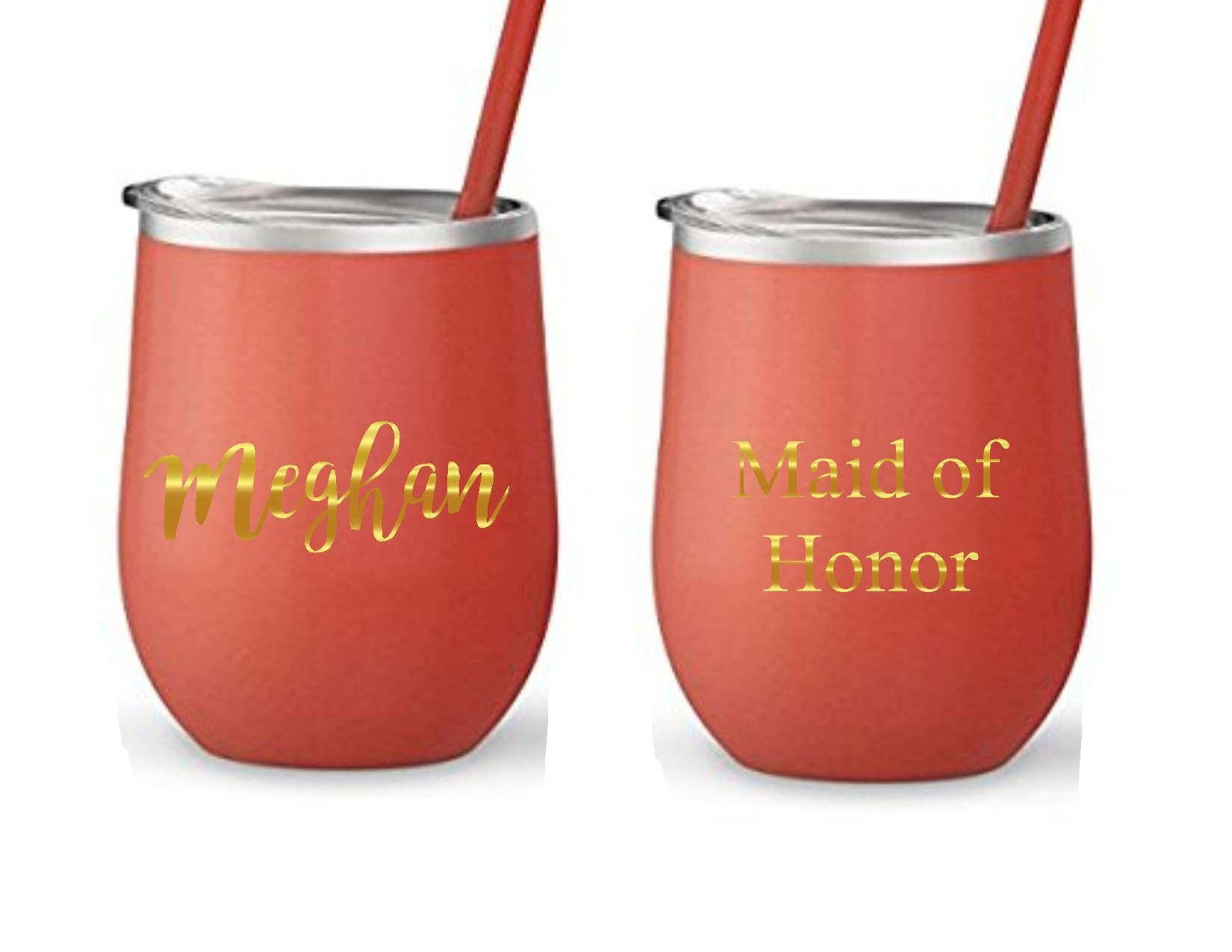 A Personal Favorite From My Etsy Shop Https Www Etsy Com Listing 559575271 Wine Tumbler Personalized Br Personalized Bridal Party Wine Tumblers Delicate Wash