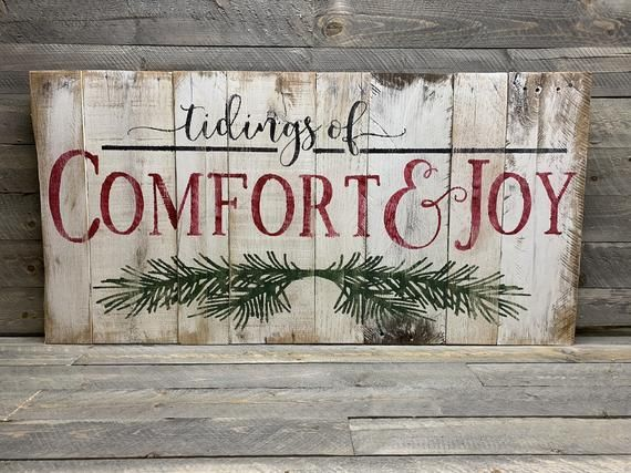 Rustic Christmas Decor - Comfort and Joy Sign - Rustic Pallet Wall Art #eingangsbereichhausinnen