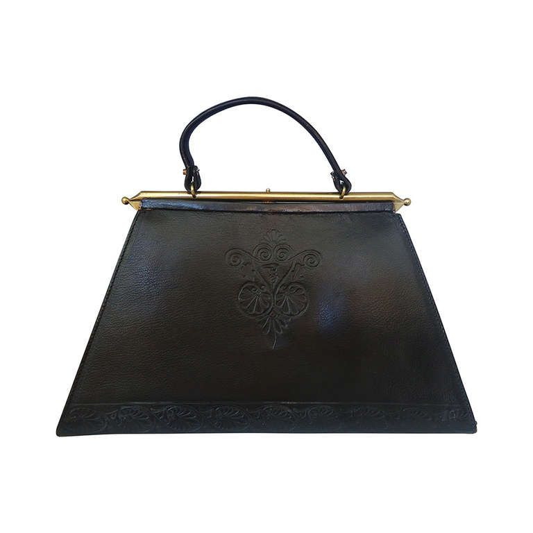 1960's Trussardi Black Leather Trapezoid Handbag This is not from my  collection.But I believe