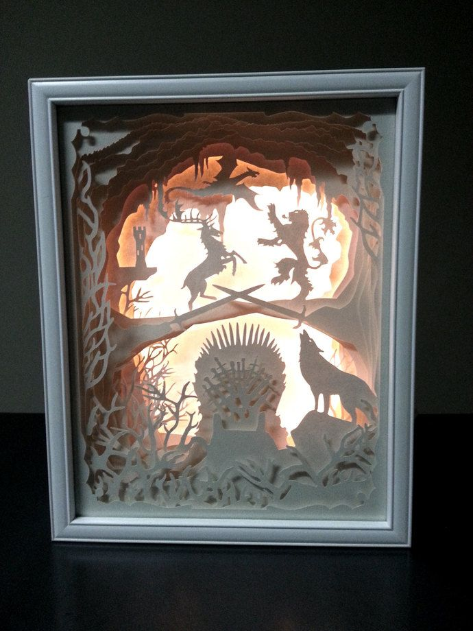 Marvelous NEW PRICE   Game Of Thrones Inspired Papercut LED Lighted White Shadow Box    15 Amazing Pictures