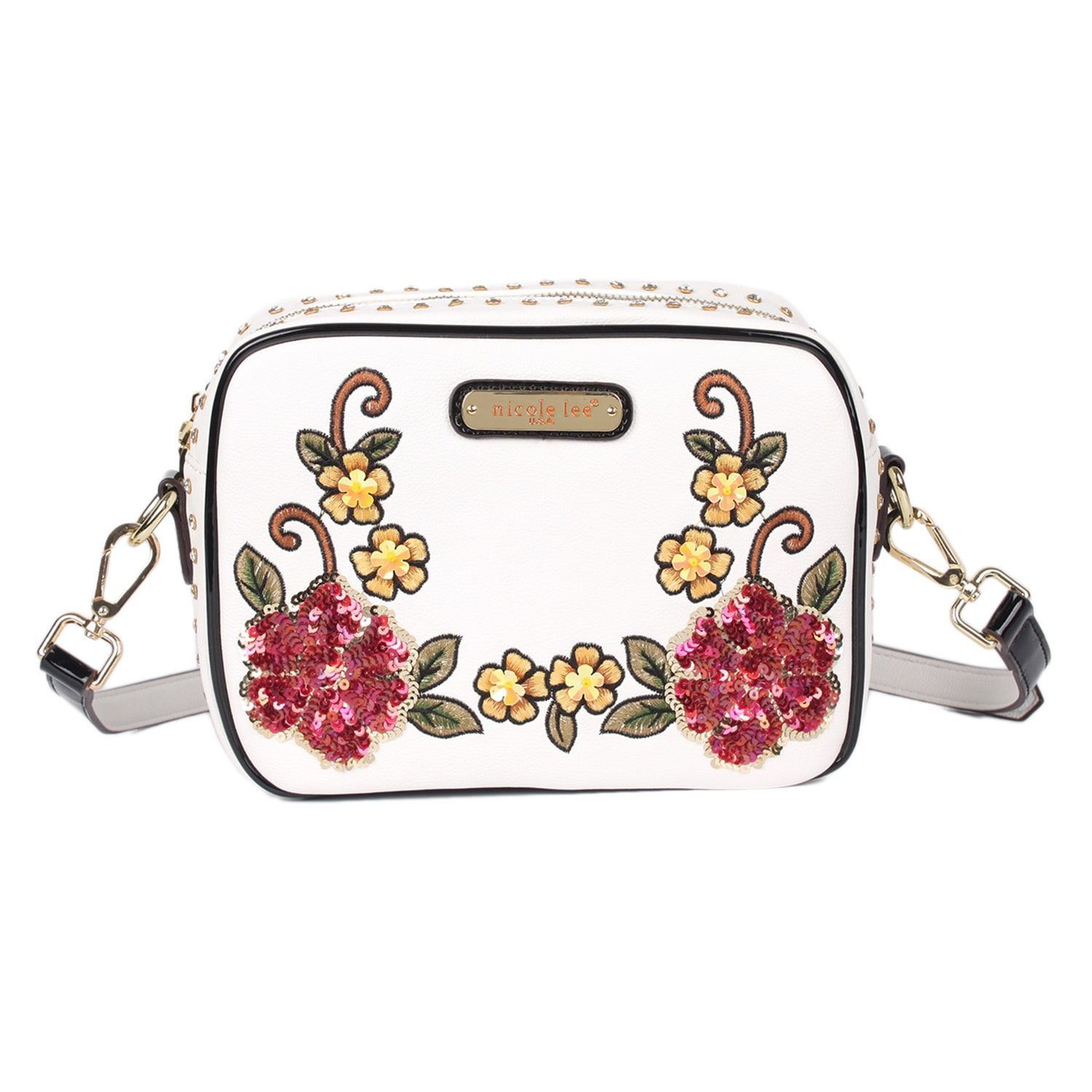 nicole lee Sequin Floral White Faux Leather and Nylon Crossbody Bag  (White) 23522d766aafc