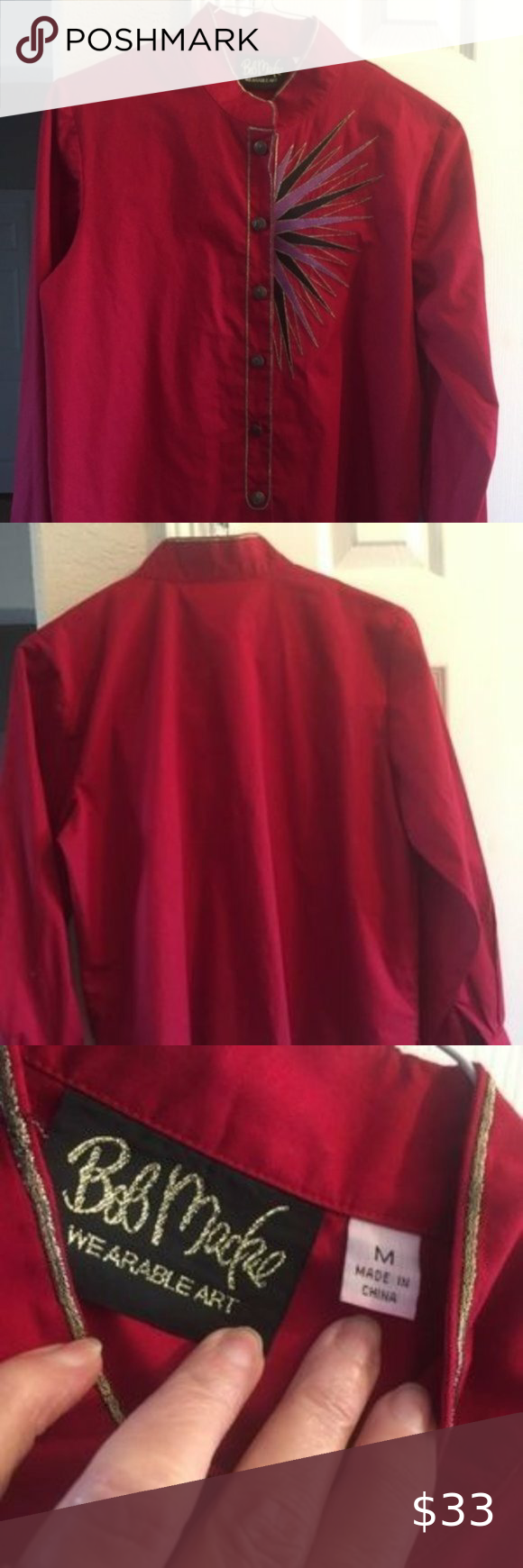 bob mackie wearable art red long sleeve shirt M Condition: Pre-owned : No defects Size Type: Regular Style: Blouse Sleeve Style: Long Sleeve Brand: Bob Mackie Color: Red Size (Women's): M Material: Cotton Blend Hand wash  button down....each button has a M on it Bob Mackie Tops Blouses #wearableart