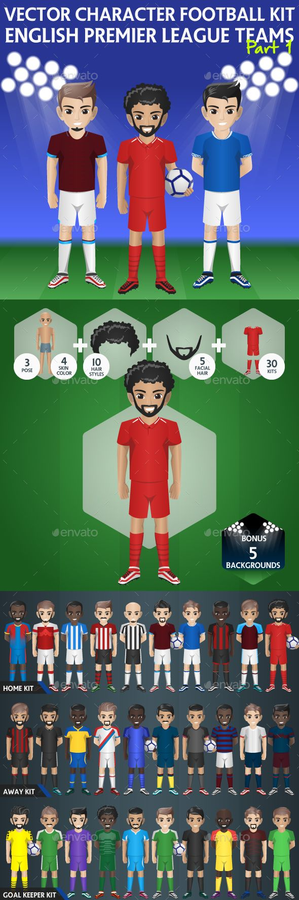 Soccer Team Kit With Customize Character Characters Vectors Premier League Teams Character English Premier League