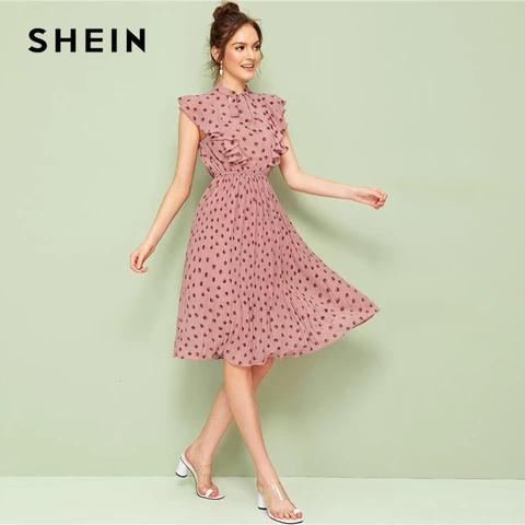 Pink Trim Dot Cap Sleeve Stand Collar Flare Midi Dress RI ...